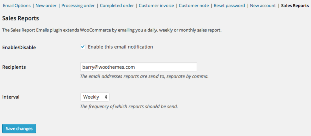 Easily configure your sales report emails.
