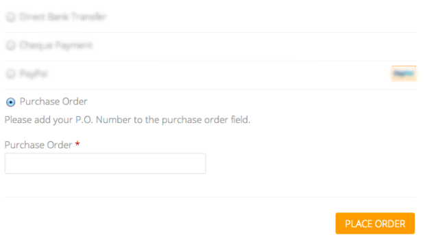 Your customer places their purchase order number here when they checkout from your store.