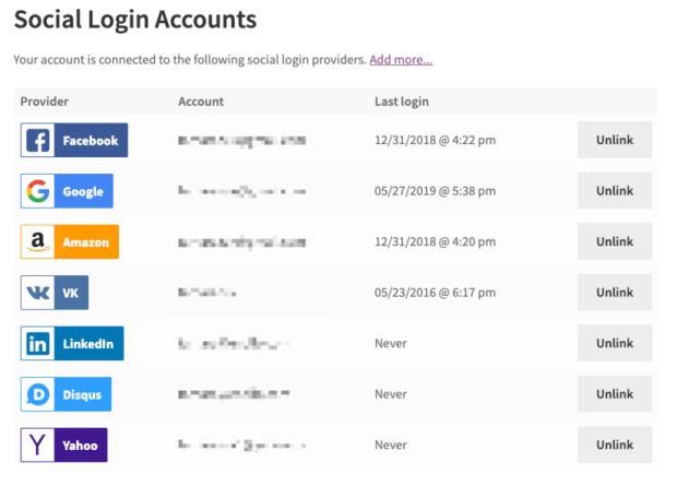 Manage Social Login accounts in My Account page