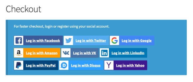Social Login at checkout