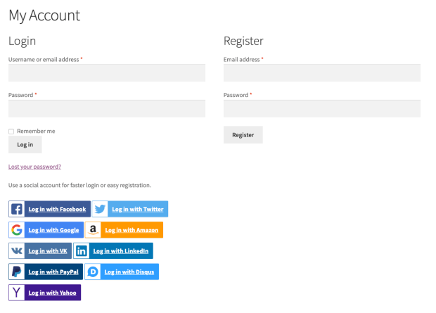 Social Login from the My Account page