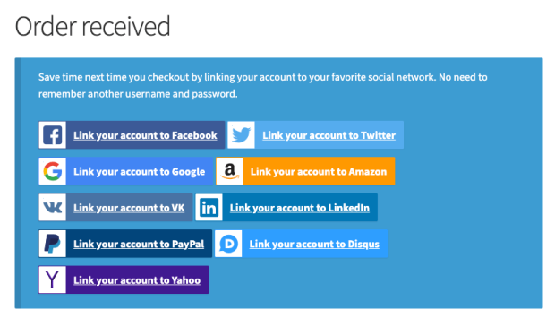 Social Login on the Order Received page