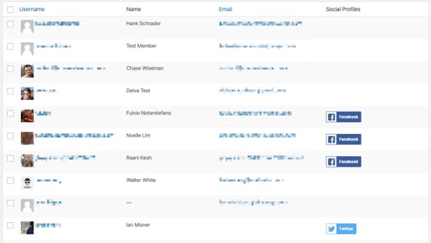 Social Login accounts setup per user