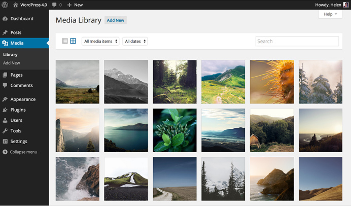 The new media library in WordPress 4.0