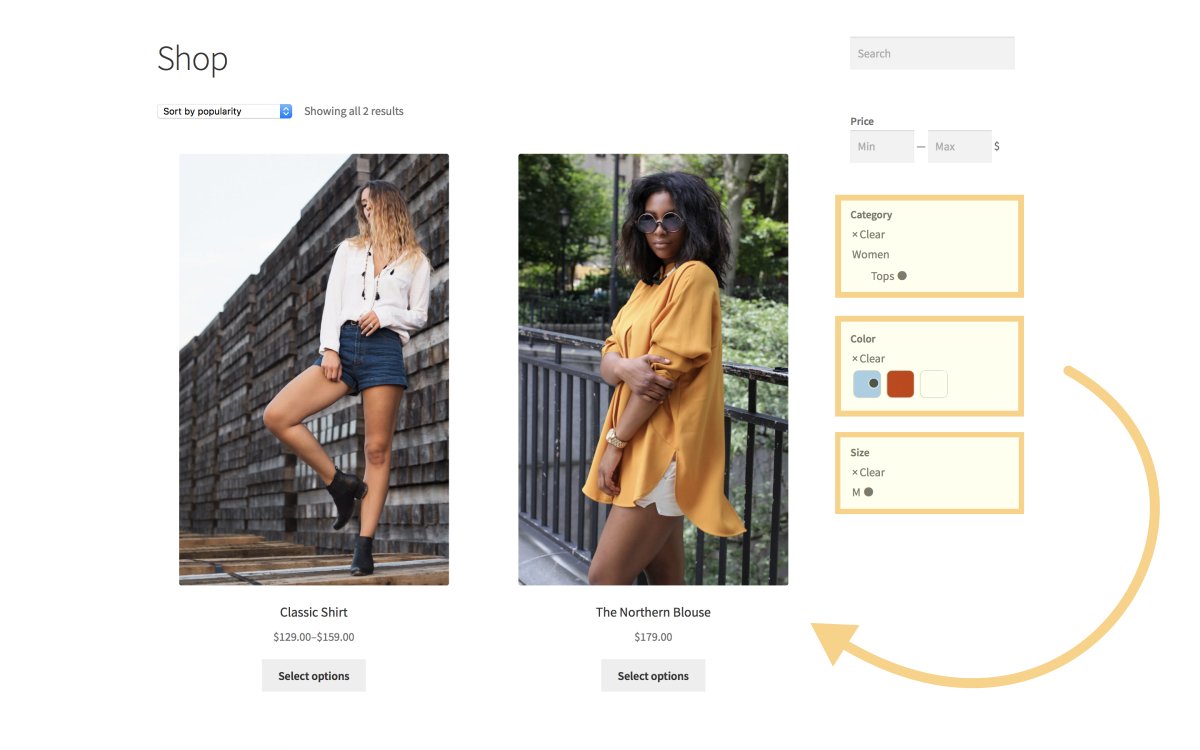 Finding the matching product with live Product Filters and intuitive thumbnails.