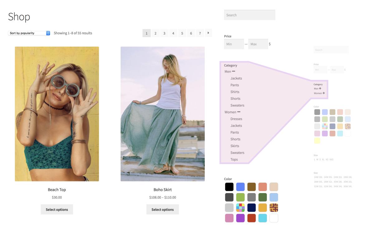 Filtres de produit – Page de boutique - Détail avec catégories développées