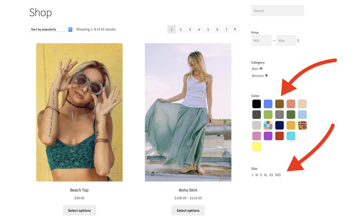 Filtres de produit – Page de boutique - Filtres et miniatures
