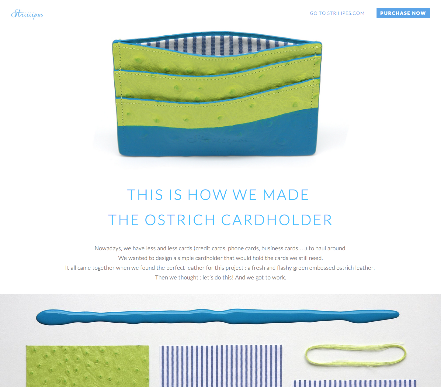 Striiiipes - Landing page - The Green Ostrich Cardholder