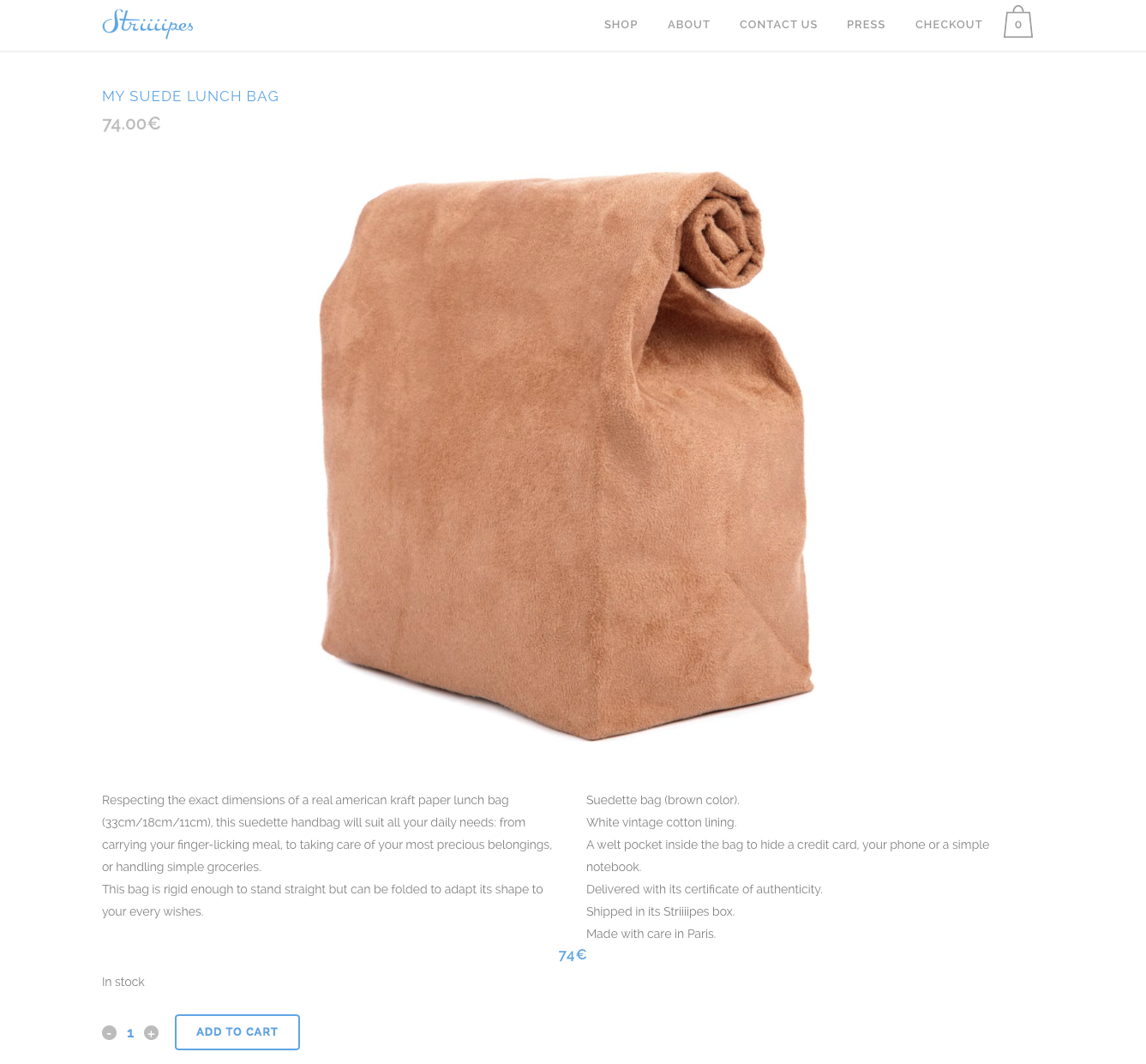 Striiiipes - Product page - My Suede Lunch Bag