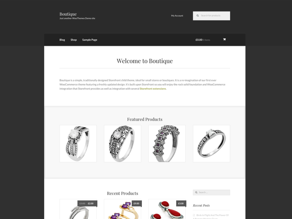 The Boutique theme homepage, a child theme for our Storefront theme.