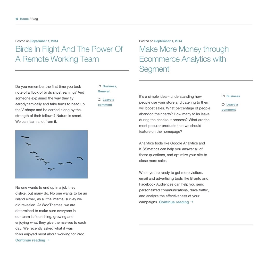 Magazine layout using the full width blog layout.