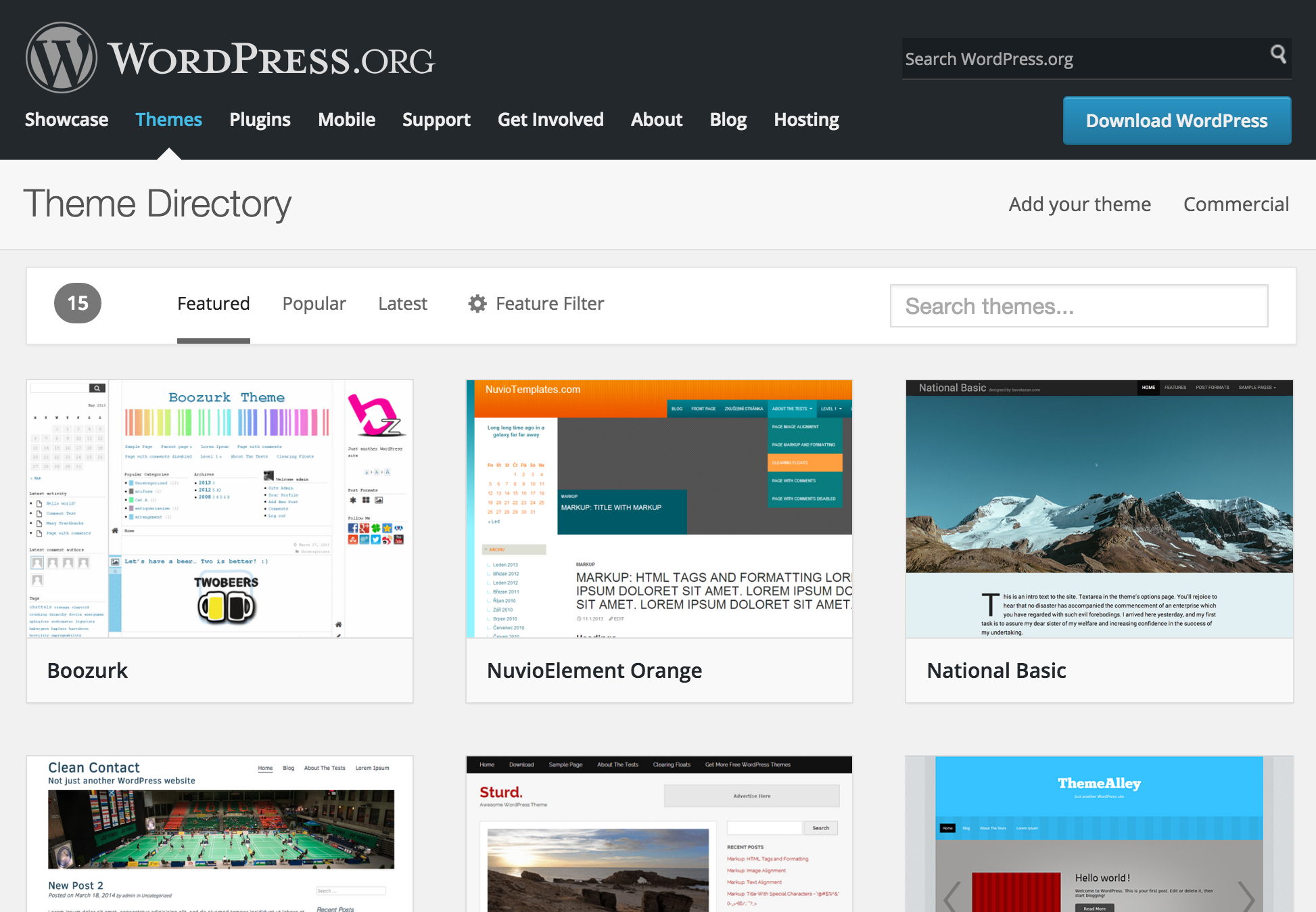 The new WordPress theme directory