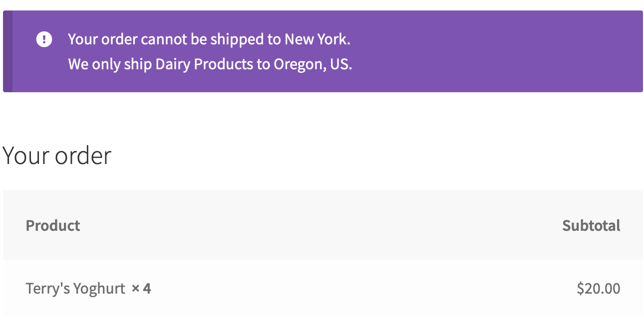 Exclude shipping destinations by product or category