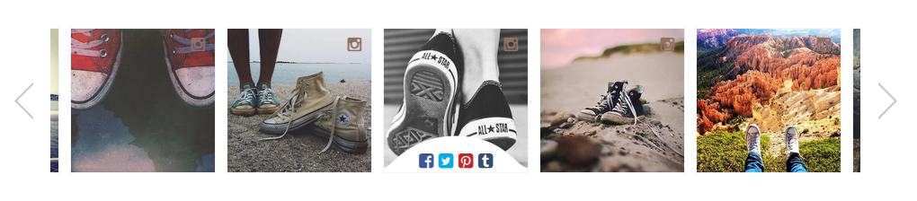 A strip of various Converse photos, pulled from Instagram, are displayed on every product page.
