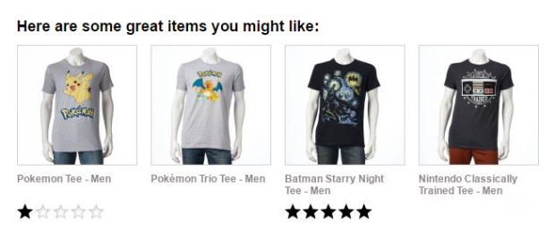 This confirmation email from Kohl's recommends some similar items based on the product that has just been purchased.