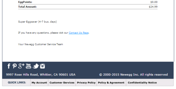 """The bottom of this email receipt has """"quick links"""" to highly relevant pages."""
