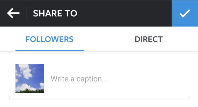 Add a caption to your photo prior to posting.