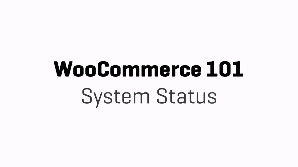 WC101 - Part 16 - System Status  Edit