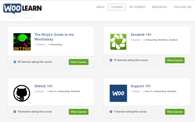 Some of the courses our Ninjas can follow on our private WooLearn platform