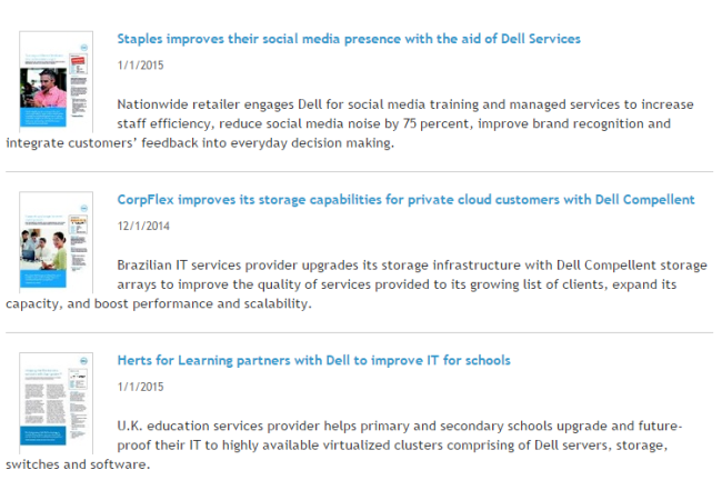 Dell has a collection of customer stories compiled into downloadable PDFs.