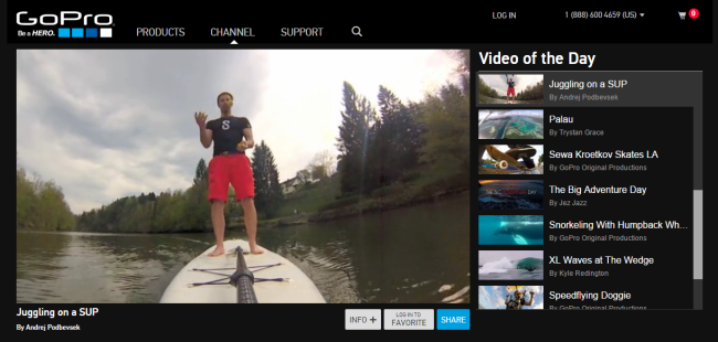 GoPro highlights video content contributed by their customers.