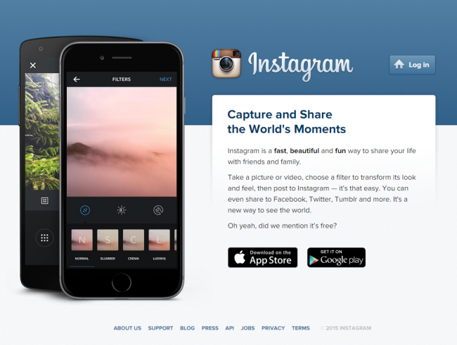 The Instagram homepage.