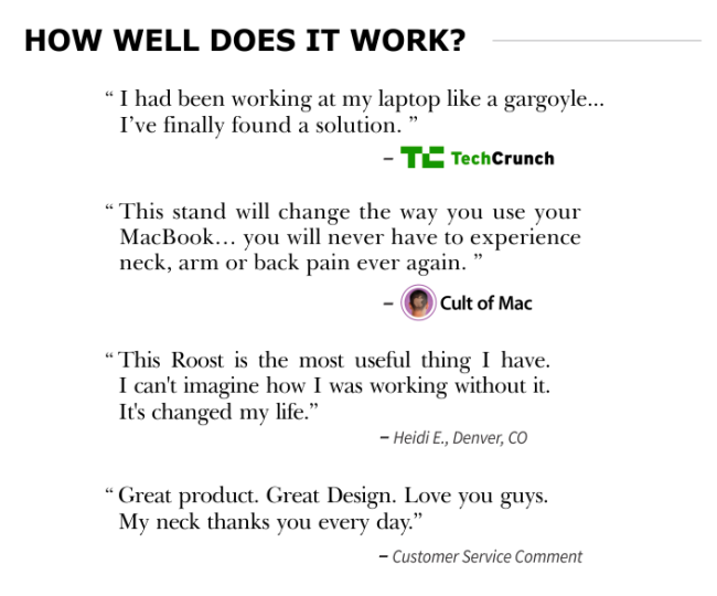 The Roost uses real reviews, not testimonials, on its Kickstarter page.