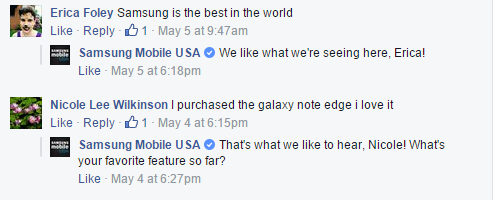 Samsung thanks customers for their praise and asks a question.
