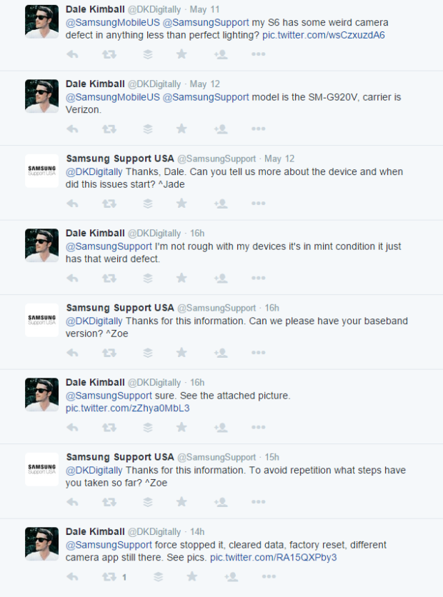 An example of a Samsung support conversation on Twitter.