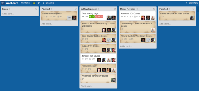 Using Trello to track changes to and development of WooLearn