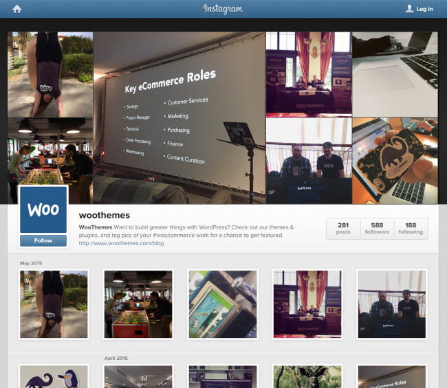 What the WooThemes Instagram looks like online.