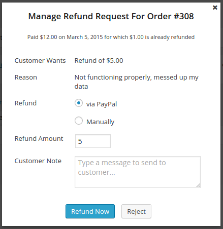 Store Admin can manage a refund request - or setup automatic refund processing