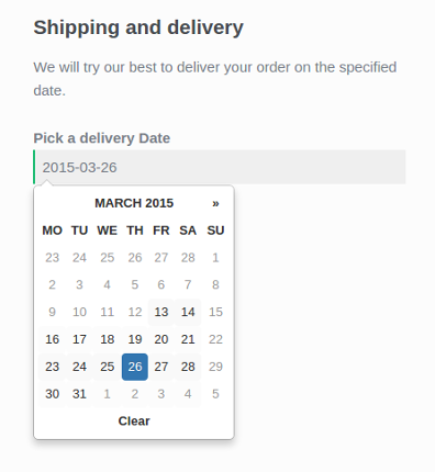 Display a delivery date selector at checkout.
