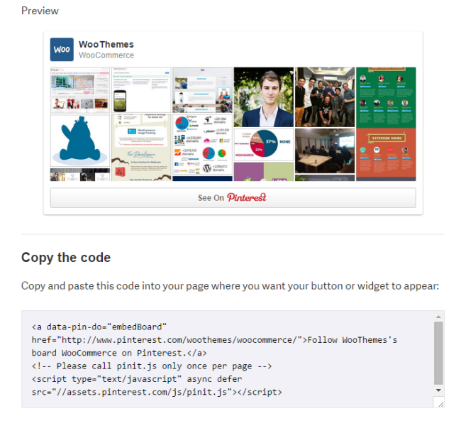 Pinterest will give you the code you need to embed a board anywhere on your website.