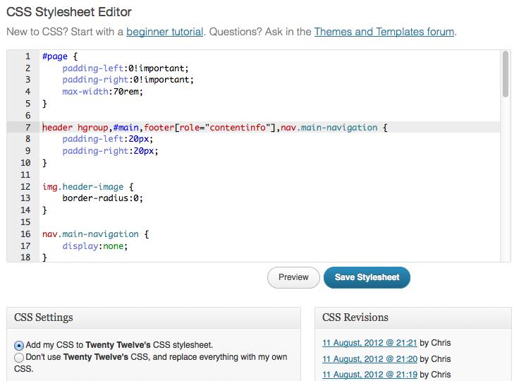 Jetpack's built-in CSS editor