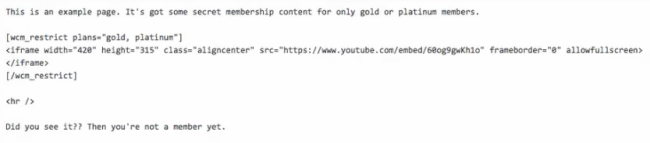 An example implementation of the shortcode to selectively hide content.
