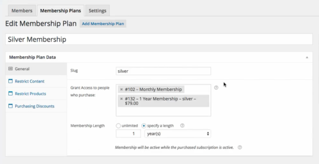 Creating a new membership plan with the appropriate items that must be purchased to activate it.