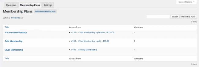 A list of sample memberships.