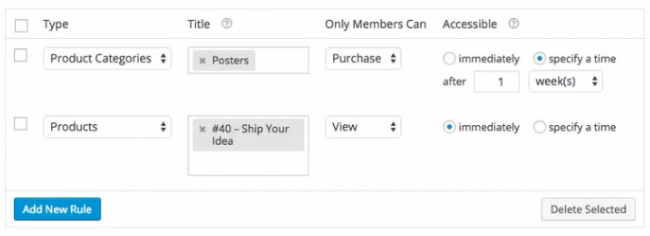 Restricting items and categories to members only.