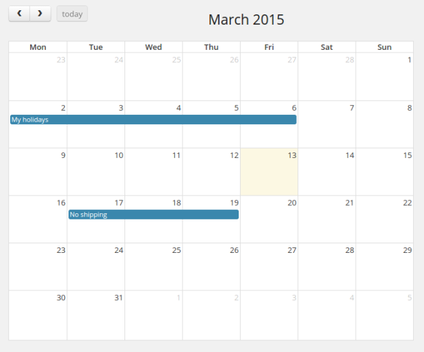 Shipping calendar, within the WooCommerce admin.