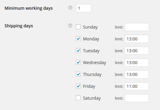 Set delivery date options per day of the week.