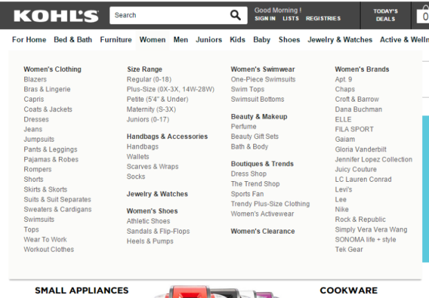 Kohls manages its high amount of sub-categories by adding labels to a drop-down menu.