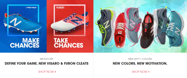 Two product-driven sections on the New Balance website.