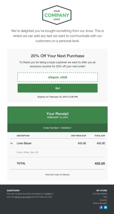 Receiptful allows you to quickly create beautiful receipts that drive further action.