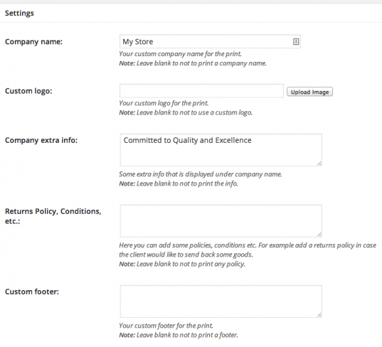 Some of the printable invoice settings.