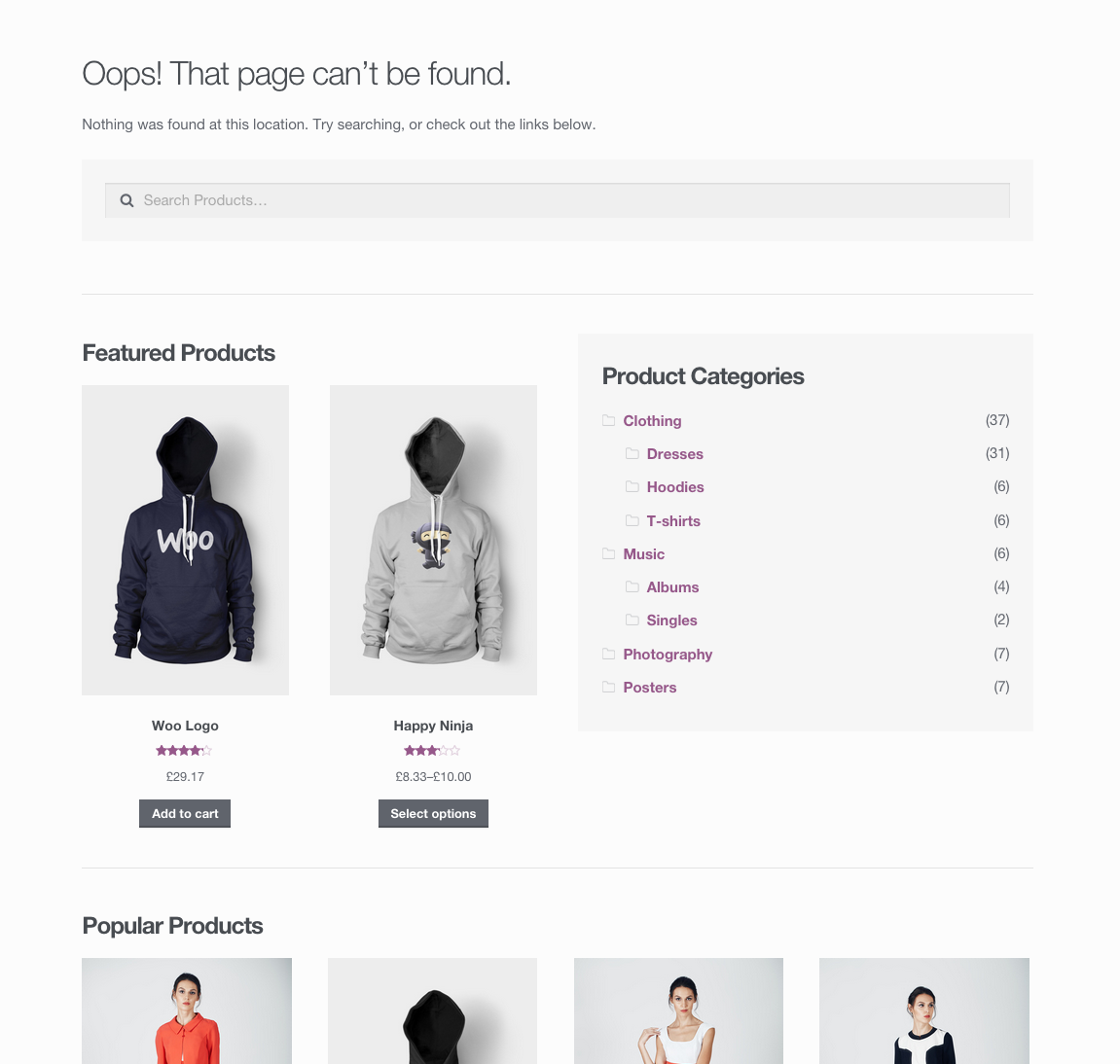 The revamped Storefront 404 page