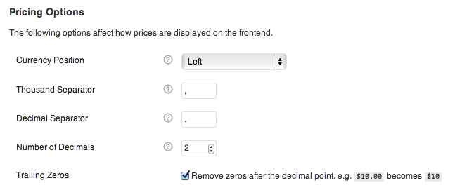 Additional pricing options to set for international stores.
