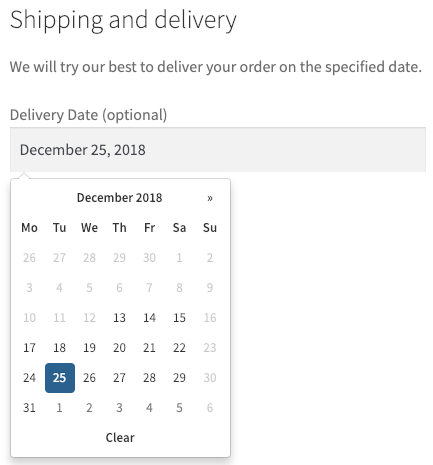 Displays a calendar to select a delivery date in the checkout form