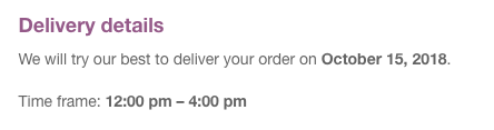 Delivery details in the customer emails