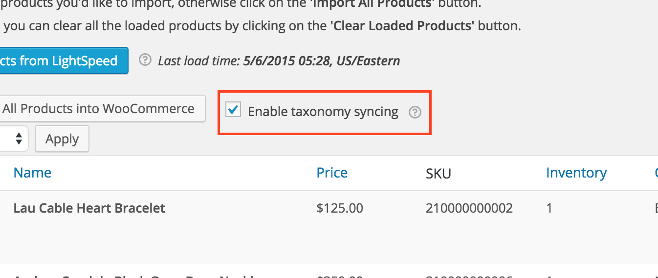 Use the taxonomy sync option to import product categories from Lightspeed.